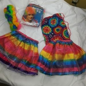 NWT  Rainbow Items with 2 adult wigs
